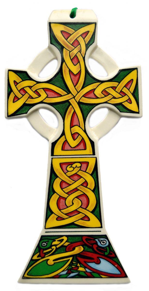Ceramic Celtic Cross Ornament With Ireland Text